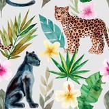 Wzór z lamparta i pantery, tropikalne liście. Modny styl. Zwierzęta egzotyczne i dżungli. Ręcznie rysowane akwarela ilustracja. Letni luksusowy design do drukowania, drukowania na papierze lub tkaninie - 251981439