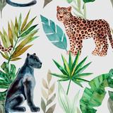 Bezszwowy wzór z lampartem i panterą, tropikalni liście. Modny styl. Zwierzęta egzotyczne i dżungli. Ręcznie rysowane akwarela ilustracja. Letni luksusowy design do druku, drukowania na papierze lub tkaninie - 251981662