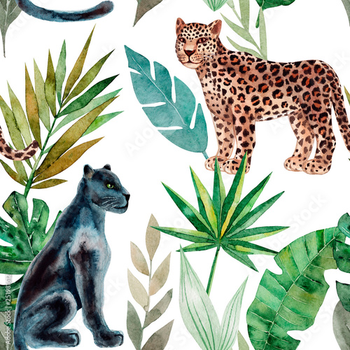 Seamless pattern with leopard and panther, tropical leaves. Trendy style. Exotic and jungle animal. Hand drawn watercolor illustration. Summer luxury design for print, printing on paper or fabric