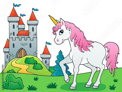 Montage in der Fensternische Für Kinder Fairy tale unicorn theme image 6