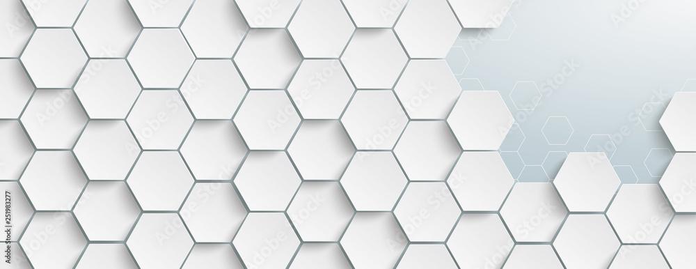 Fototapeta Weiße Hexagonstruktur an einen Stelle geöffnet