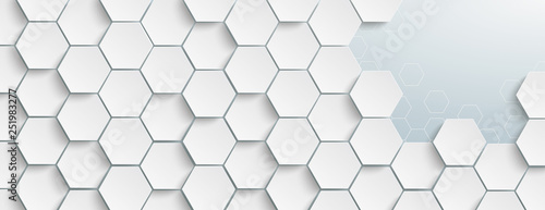 Fotomural Weiße Hexagonstruktur an einen Stelle geöffnet