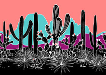 Vector Seamless Pattern With Cacti, And Mountains. Wild Cactus Forest With Agave, Saguaro, And Prickly Pear. Bright Psychedelic Palette