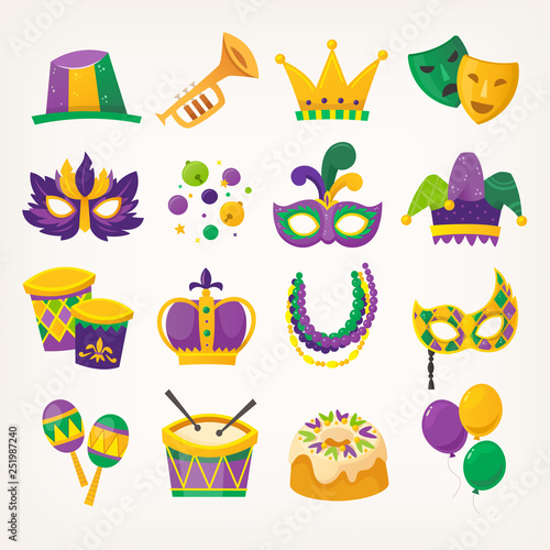 Photo Set of colorful attributes for celebrating Mardi Gras - traditional spring holiday and carnival parade in New Orleans