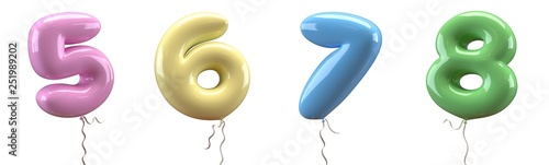 Fotografija Brilliant balloons font number 5, 6, 7, 8, made of realistic elastic color rubber balloon