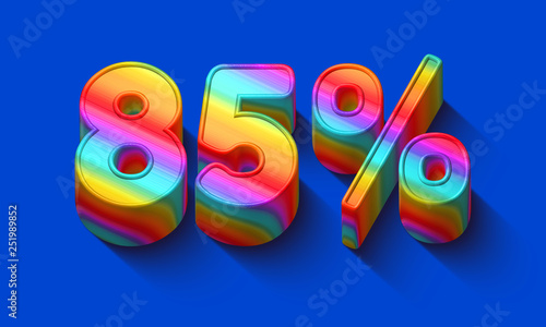 Fotografia  85 percent sale discount with Dazzling rainbows number and supersaturated color background