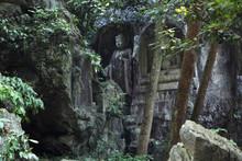 Ancient Buddhist Rock Statue In Hangzhou, China
