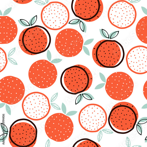 Carta da parati Seamless pattern with geometric orange