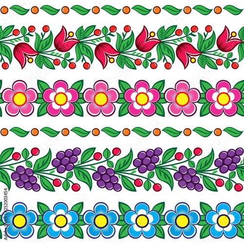 Fotografija  Seamless Polish folk art vector pattern - Zalipie traditional design with flower