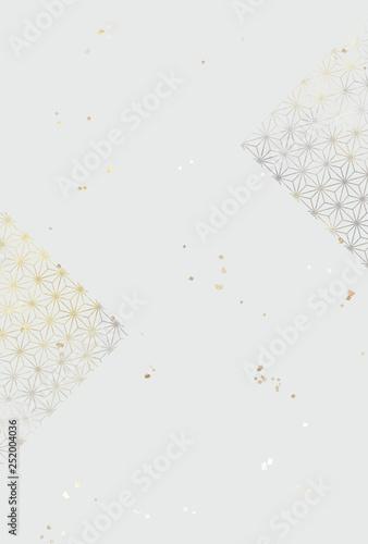 背景 金銀 麻の葉模様 金箔散し Wallpaper Mural