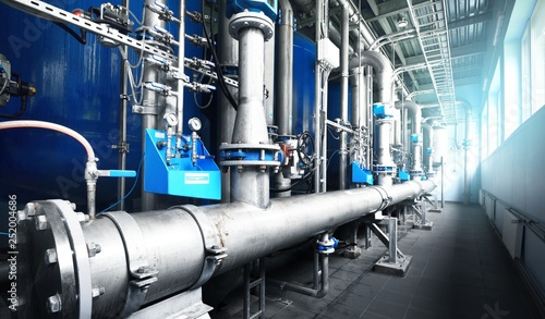 Large industrial water treatment and boiler room Canvas Print
