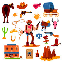 Wild West Vector Western Cowboy Character In Wildlife Desert With Cactus Illustration Wildly Sheriff In Hat With Gun On Rodeo Set Isolated On White Background
