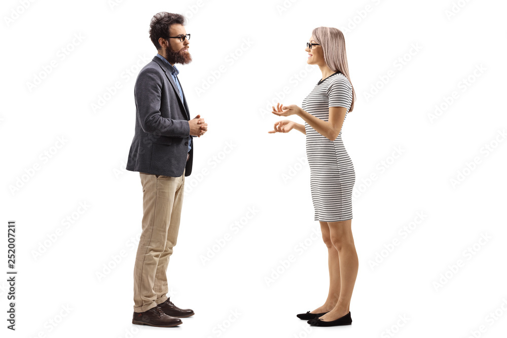 Fototapeta Man and woman standing and talking