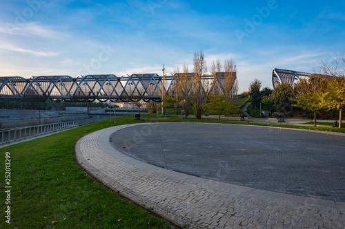 Puente de Arganzuela (Arganzuela Bridge) and Manzanares River, Madrid, Spain Wallpaper Mural