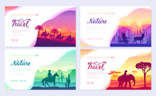Different Riders Of The World Vector Brochure Cards Set. Colorful Landscape Template Of Flyear, Web Banner, Ui Header, Enter Site. Invitation Concept Background. Layout Illustration Modern Slider Page