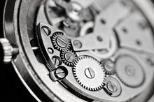 Mechanism Of Wrist Watches In The Clear. Shallow Depth Of Field