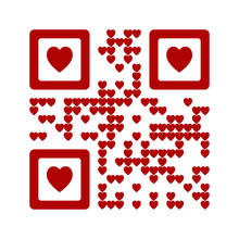 I Love You Words Qr Code Abstract Vector Illustration. Red Heart Symbol