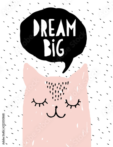 Foto-Kissen premium - Dream Big - Funny Pink Cat Vector Illustration. Simple Sweet Nursery Art. Pink Dreaming Kitty and Black Bubble Speech Isolated on a White Background.  Lovely Room Decoration for Baby Girl.  (von Magdalena)
