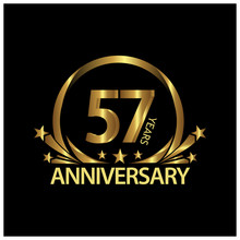 57 Years Anniversary Golden. Anniversary Template Design For Web, Game ,Creative Poster, Booklet, Leaflet, Flyer, Magazine, Invitation Card - Vector