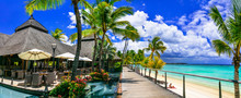 Relaxing  Bar In Palm Shade And Pool Bnear The Beach. Tropical Paradise Mauritius Island