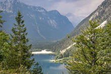 View Of Lake Predil (Lago Del Predil) From Predil Pass At The Border Of Italy And Slovenia, Julian Alps.
