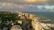 MIAMI, FLORIDA, USA - JANUARY 2019: Aerial drone panorama view flight at sunset over Miami beach city centre.