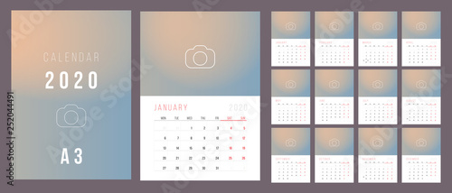 Cuadros en Lienzo Calendar 2020. Week Starts on Monday.