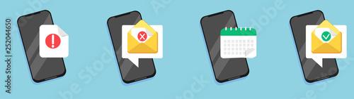 Obraz na płótnie Set of flat email notification on smartphone