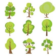 Set Of Cartoon Trees. Green Pl...