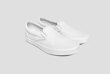 Blank White Slip-on  Shoes Mock Up Set, Isolated. Plain Hipster Slip-on Mock Up Template. Urban Skate Shoes With Clear Label Presentation.High Resolution Photo.Side View.