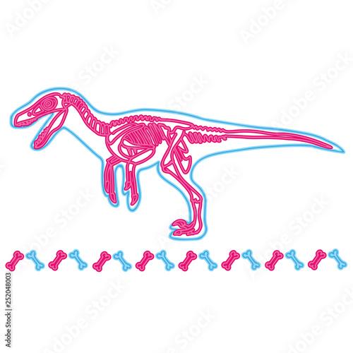 Photo  Velociraptor light neon skeleton vector illustration