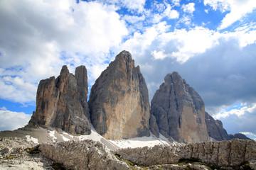 Drei Zinnen Gebirgsstock, Sextener Dolomiten, Belluno, Italien, Europa