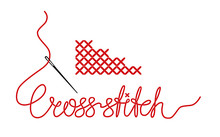 Vector Cross Stitches With Nee...