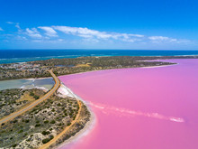 Aerial Image Of The Pink Lake And Gregory In Western Australia With Indian Ocean In Background