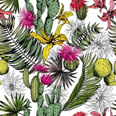 Naklejka Egzotyczne Seamless pattern with cactus plants, tropical leaves and flowers. Hand drawn vector on white background.