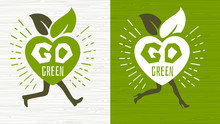 Go Green Ecology Happy Earth Day Emblem Logo Design Lettering Fresh Green Leaves Concept Icon Label Sticker Design. Bright Stylish Hearts Walking Running Legs Leaves Hand Drawn Vector Illustration