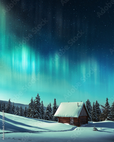 Foto auf Gartenposter Nordlicht Fantastic winter landscape with wooden house in snowy mountains and northen light in night sky