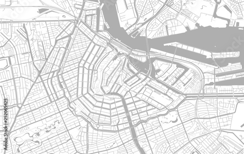 Fotografie, Obraz White and grey vector city map of Amsterdam