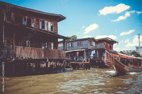 Traditional houses on Khlong, Bangkok, Thailand
