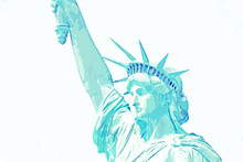 Watercolor Sketch Or Illustration Of The Statue Of Liberty In New York In The USA