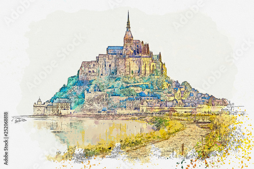 Fotografie, Obraz  Watercolor sketch or illustration of a beautiful view of the Cathedral of Mont S