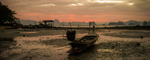 Sunrise In A Low Tide Beach, At Koh Yao Noi, Thailand
