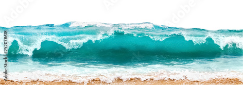 Blue and aquamarine color sea waves and yellow sand  with white foam isolated on white background. Marine beach background. - 252078618