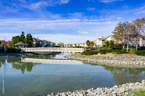 Bridge over man made waterway, Redwood shores, San Francisco bay area, Californi Wallpaper Mural