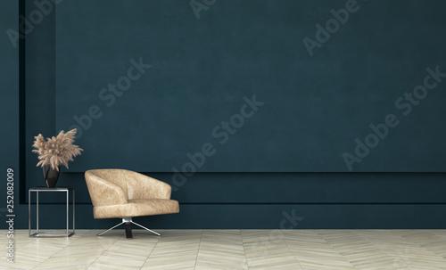 Fotografie, Obraz  Modern dark green living room interior,wall mock up,3d render