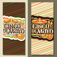 Vector Vertical Banners For Cinco De Mayo Holiday, Layout With Ethnic Ornament, Illustration Of Mexican Hat, Guitar And Maracas, Original Brush Lettering For Words Cinco De Mayo On Striped Background.