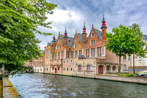 Groenerei canal and architecture of old Bruges, Belgium