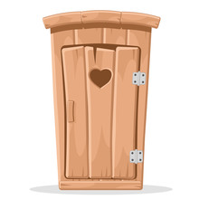 Wooden Toilet With A Carved Heart In The Door On A White.