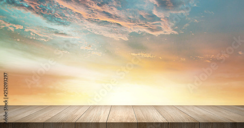 Wood Table Top Scene Sky Background for Display and Presentation