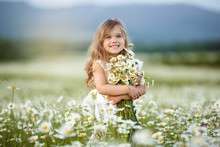 Little Cute Girl With Bouquet ...